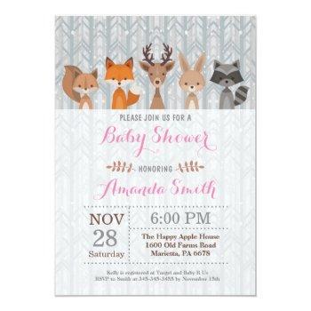 Winter Woodland Animal Girl Baby Shower Invitation