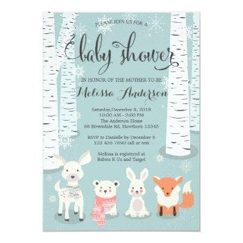 Winter Woodland Baby Shower Invitation, Animals Invitation