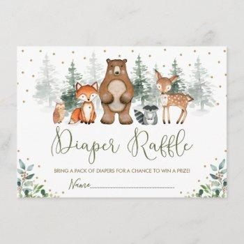 Wintry Woodland Forest Greenery Diaper Raffle Enclosure Card
