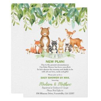 Woodland Animals Baby Shower By Mail Greenery Boy Invitation