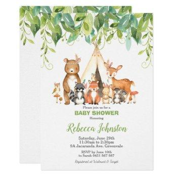 Woodland Animals Baby Shower Forest Greenery Boy Invitation