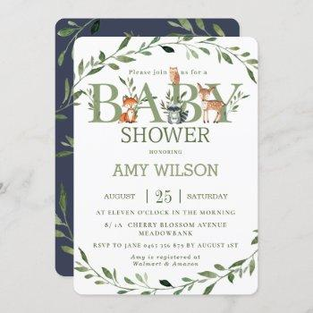 Woodland Animals Baby Shower Whimsical Greenery Invitation