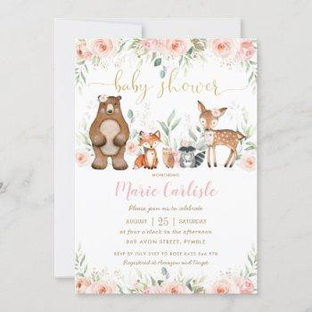 Woodland Animals Blush Floral Girl Baby Shower Invitation