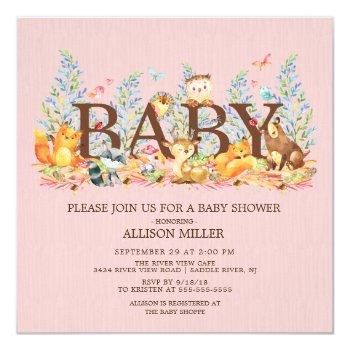 Woodland Animals Girls Baby Shower Invitation