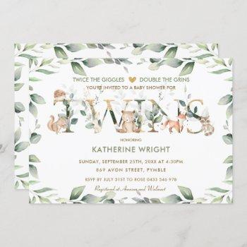 Woodland Animals Greenery Twin Neutral Baby Shower Invitation
