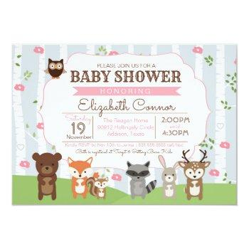 Woodland Animals Spring Or Summer Girl Baby Shower Invitation