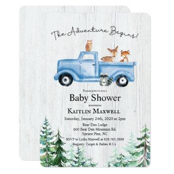Woodland Animals Truck Baby Shower Invitation