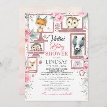 Woodland Animals Virtual Baby Shower Invitation