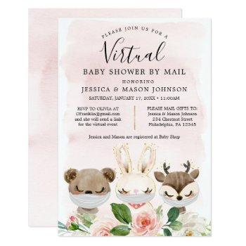 Woodland Animals Virtual Baby Shower Invites Girl