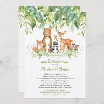Woodland Animals Virtual Baby Shower Mail Greenery Invitation