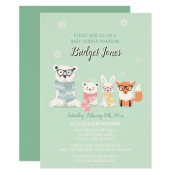 Woodland Baby Animals Winter Forest Baby Shower Invitation