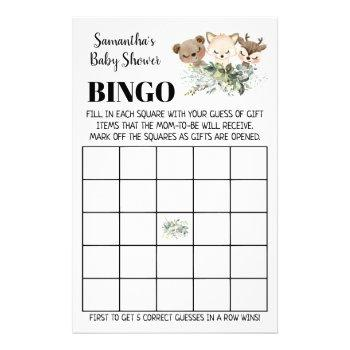 Woodland Baby Shower Bingo Bilingual Game Card