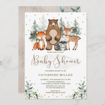 Woodland Baby Shower Forest Animals Greenery Gold