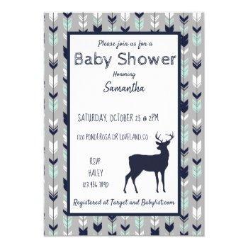 Woodland Baby Shower Invitation- Mint/navy/grey Invitation