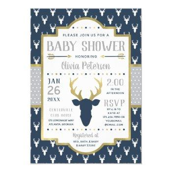 Woodland Baby Shower Invitation, Navy, Gray, Gold Invitation