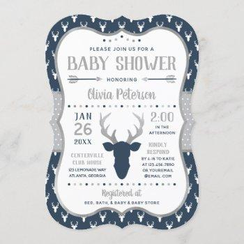 Woodland Baby Shower Invitation, Navy, Gray Invitation