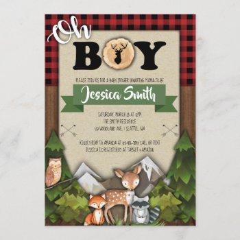 Woodland Baby Shower Invitations Boy Plaid