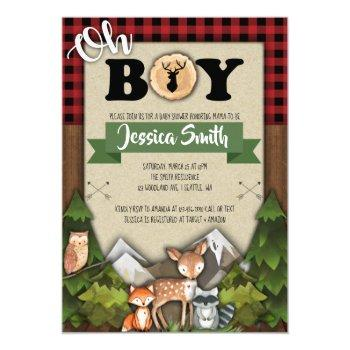 Woodland Baby Shower Invitations Boy Plaid