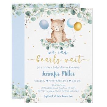 Woodland Bear Blue Gold Greenery Baby Shower Invitation