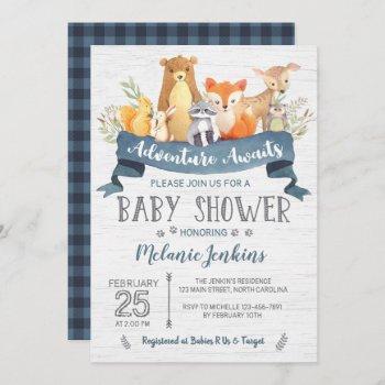 Woodland Bear Boy Baby Shower Invitation