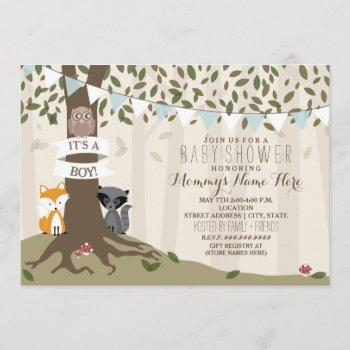 Woodland Creatures Baby Shower - Boy Invitation