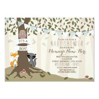 Woodland Creatures Baby Shower - Boy Invitation