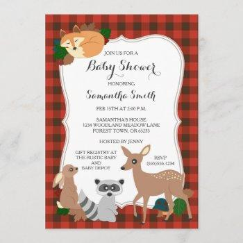 Woodland Creatures Baby Shower Buffalo Plaid Invitation