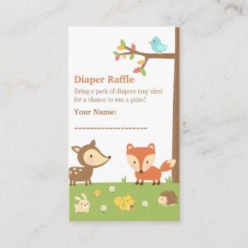 Woodland Creatures Baby Shower Diaper Raffle Enclosure Card