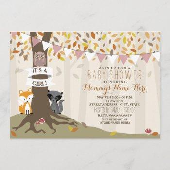 Woodland Creatures Fall Autumn Baby Shower - Girl Invitation