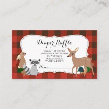Woodland Creatures Plaid Diaper Raffle Ticket Enclosure Card