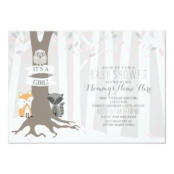 Woodland Creatures Winter Baby Shower - Girl Invitation