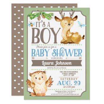 Woodland Deer And Owl Boy Baby Shower Invitation