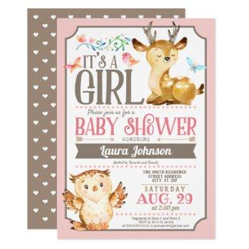 Woodland Deer And Owl Girl Baby Shower Invitation