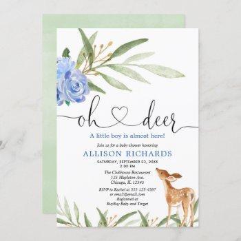 Woodland Deer Blue Floral Greenery Boy Baby Shower Invitation