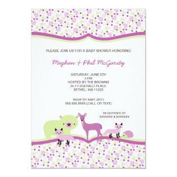 Woodland Forest Animals Baby Shower Girl Invite