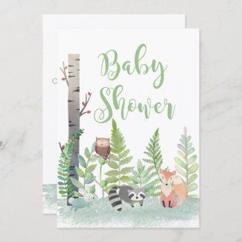Woodland Forest Baby Animals Baby Shower Invites