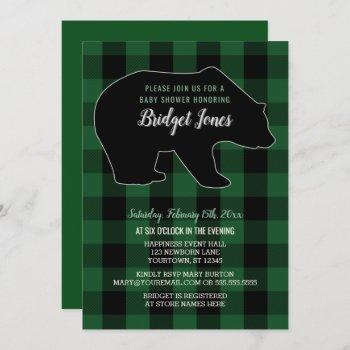 Woodland Forest Bear Lumberjack Plaid Baby Shower Invitation