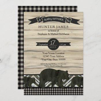 Woodland Forest Lumberjack Bears Wood Baby Shower Invitation