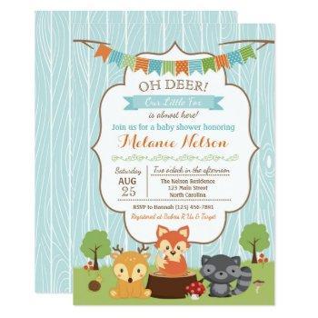 Woodland Fox Baby Shower Invitation Oh Deer