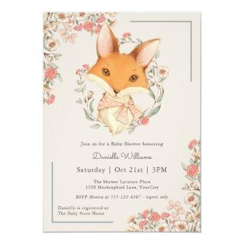 Woodland Fox Storybook Baby Shower For Girl Invitation