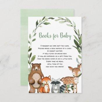 Woodland Greenery Animals Book Request Baby Shower Enclosure Card