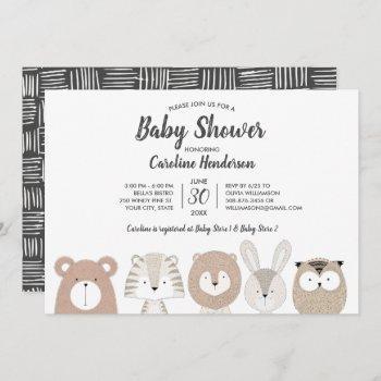 Woodland & Jungle Animals Baby Shower Invitation