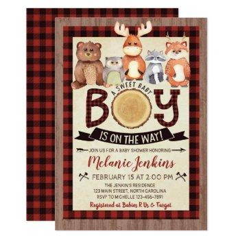 Woodland Lumberjack Boy Baby Shower Invitation