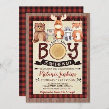 Woodland Lumberjack Boy Baby Shower Invitation
