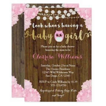 Woodland Owl Baby Girl Shower Invitation