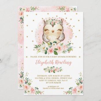 Woodland Owl Pink Gold Floral Girl Baby Shower Invitation