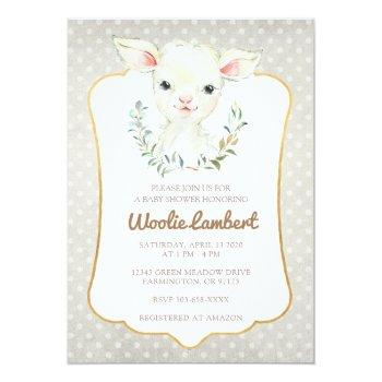 Woolie Lambert Cute Lamb Baby Shower Invitation