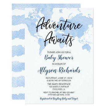 World Map Adventure Awaits Boy Baby Shower Invitation