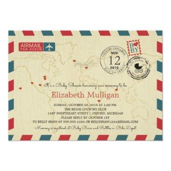 World Traveler Airmail | Baby Shower Invitation