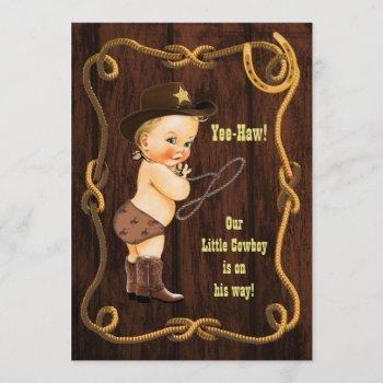 Yee-haw! Blonde Cowboy Rustic Baby Shower